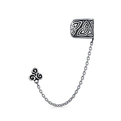 Celtic Irish Trinity Triskele Wrap Cartilage Ear Cuff Chain Pierced Ear Stud Earrings 1Pcs Oxidized 925 Sterling - Ear Oxidized Cuffs