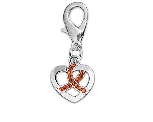 Fundraising For A Cause Crystal Orange Ribbon Silver Heart Hanging Charm (Retail)