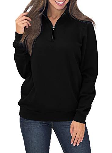 Women's Long Sleeve 1/4 Quarter Zip Stand Collar Fleece Pullover Sweatshirts Tops Blouse Oversized Pocket Outwear Solid Black XL 16 18 ()