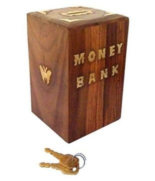 VISHAL INDIA CRAFT Wood Piggy bank (10.16x10.16x15.24cm, Brown) Coin Banks at amazon