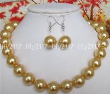 Rare 10mm Natural Yellow Round South Sea Shell Pearl Necklace 18'' Earrings Set