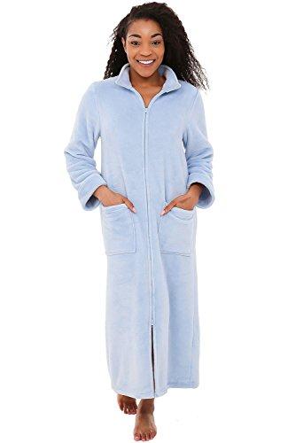 Light Blue Fleece (Alexander Del Rossa Womens Fleece Robe, Soft Zip-Front Bathrobe, Small Medium Light Blue (A0300LBLMD))