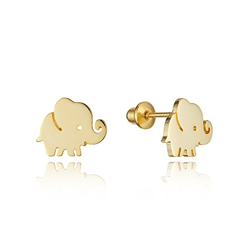 14k Gold Plated Brass Plain Baby Elephant Screwback Baby Girls Earrings with Sterling Silver Post by Children Earrings by Lovearing