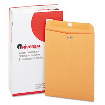 Universal 35264 Kraft Clasp Envelope, Center Seam, 28lb, 9 x 12, Brown Kraft, 100/Box
