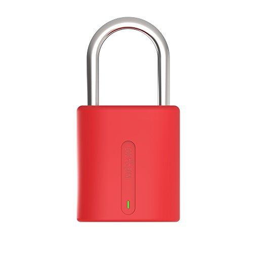 Dog & Bone Locksmart Mini - keyless bluetooth padlock - smart padlock - smart lock - Red