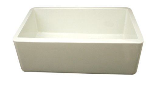 Whitehaus WH3018-BI Duet Series 30-Inch Reversible Fireclay Sink with Smooth Front Apron