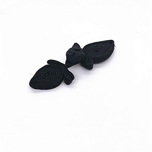 Maslin 10 Pairs/lot Chinese Frog Closures Buttons Floral Design Handmade Decoration Fastener Knot Sewing Craft for Cheongsam Tang Suits - (Color: Black)