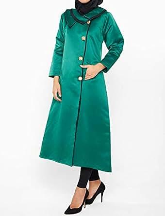 Nukhbaa Green Satin Cape For Women