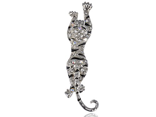 Alilang Crystal Rhinestone Black Enamel Paint Leaping Leopard Animal Jewelry Pin ()