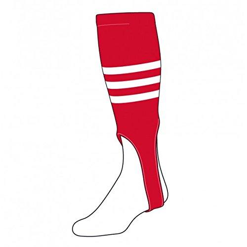 TCK Sports Striped 7 Baseball/Softball Stirrup Socks, Scarlet/White/Navy 300I1-165-7