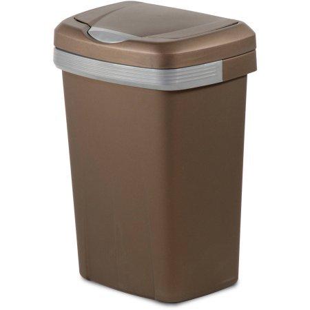 Hefty 13-Gallon Premium Touch Lid Waste Basket, Bronze (1) (Brown Can Kitchen Garbage)