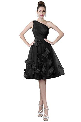 Nuziali A Ritorno Di Una Spalla Donne Tulle Di Con Vestito Una Dora Appliques Promenade Nere Casa Linea 58Tfqxwn