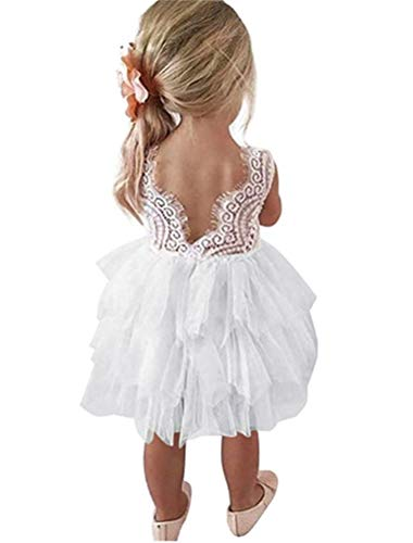 Flower Girl White Lace Backless Tiered Pageant Fluffy Skirt Tutu Tulle Wedding Party Fancy Dress ()
