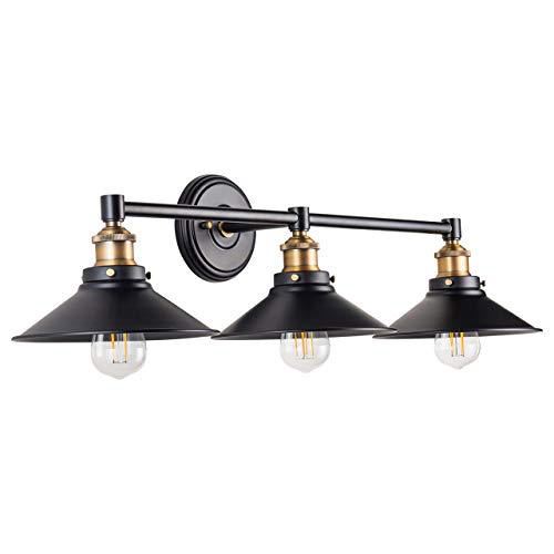 - Andante LED Industrial 3 Light Wall Sconce - Black with Antique Brass - Linea di Liara LL-WL437-AB