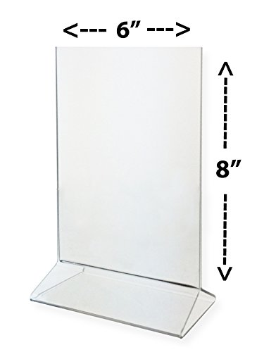 Marketing Holders Sign Holder 6x8 Clear Acrylic Table Top Tent Style Top Loading Sold in Lots of 10 by Marketing Holders