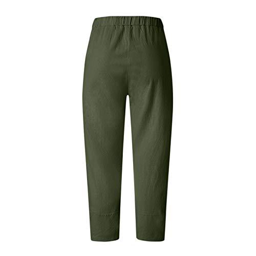 Ymibull Women Casual Flowers Print Elastic Girdle Waist Wide Leg Pants Trousers Capri Pants Trousers (Green,M)