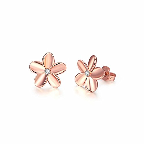 (1Pair 925 Sterling Silver Plum Flower Crystal Ear Stud Earrings)