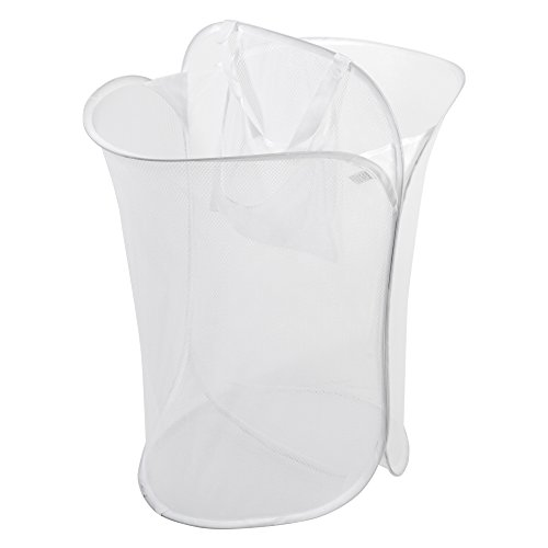 PRO-MART DAZZ Mesh Pop Up 2 Compartment Laundry Sorter Hamper with Handles, White (2 Compartment Laundry Basket)