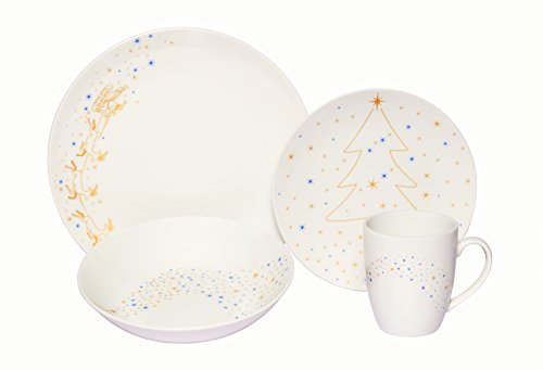 Coupe Soup Salad Bowl - Melange Coupe 16-Piece Porcelain Dinnerware Set (Golden Angels) | Service for 4 | Microwave, Dishwasher & Oven Safe | Dinner Plate, Salad Plate, Soup Bowl & Mug (4 Each)