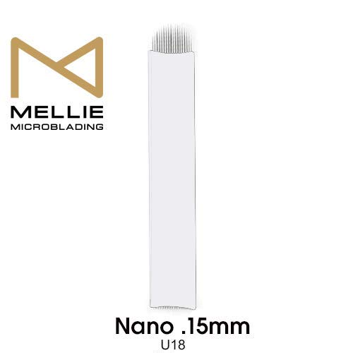 Mellie Microblading NANO U18 Microblading Blade 25 pcs - NANO 18 Pins .15mm Diameter Thinnest Blade On The Market - Best Microblading Blade for Crisp & Clean Strokes For Microblading Eyebrows
