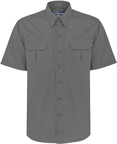 LA Police Gear Short Sleeve Lightweight Cotton/Poly Tactical Field Shirt - Grey, 2Xlarge