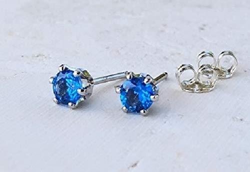 Ice Blue Topaz Gemstone Stud Earrings Sterling Silver - Jewelry Gift for - Pierced Ice