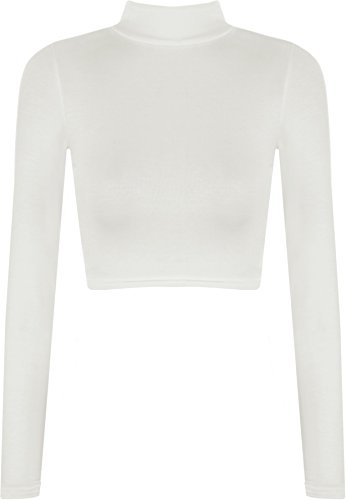 WearAll Womens Turtle Neck Crop Long Sleeve Plain Top - Cream - US 8-10 (UK 12-14)