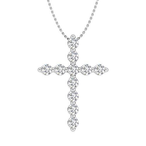 1/4 Carat Diamond Cross Pendant Necklace in 10K White Gold - IGI Certified ()