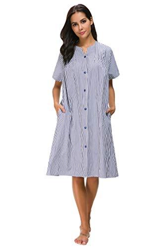M-anxiu Women's Stripe House Coat Long Sleep Dress Loungewear (Navy,XL)