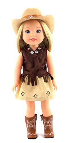 Brown Little Cowgirl with Hat and Boots-Fits 14 Inch Wellie Wisher Dolls | 14 Inch Doll Clothing -