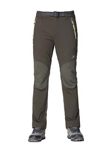 PECTNK Mens Outdoor SoftShell Pants Elastic Waterproof Autumn Hiking 16982 Army Green Large