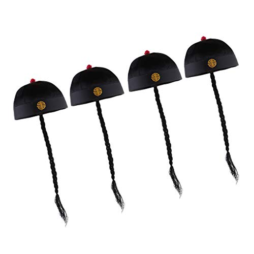 Fenteer 4pcs/Set Retro Chinese Oriental Adult Men's Black Caps with Ponytail Party Role Play Hat Fancy Dress -