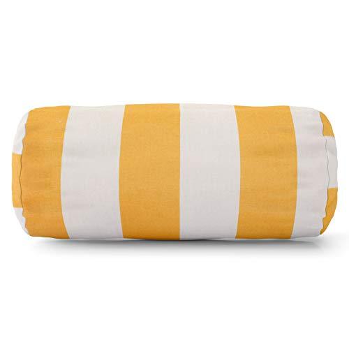 (Majestic Home Goods Yellow Vertical Stripe Indoor/Outdoor Round Bolster Pillow 18.5