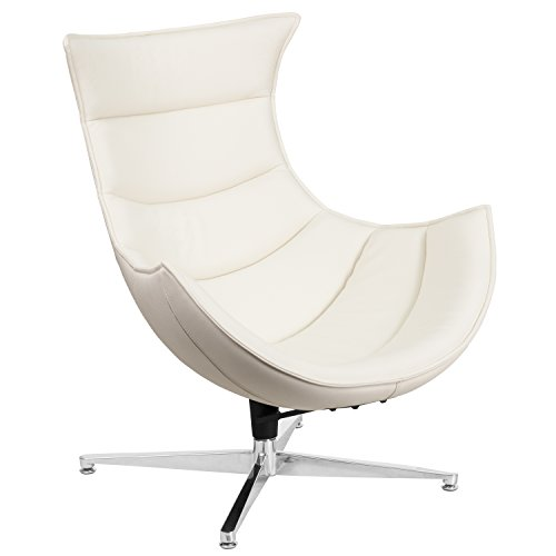 (Flash Furniture Melrose White Leather Swivel Cocoon Chair)