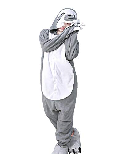 WOTOGOLD Animal Cosplay Costume Gray Sloth Adult Pajamas Gray,Large -