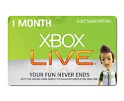 Xbox Live One Month Gold Membership Voucher Card