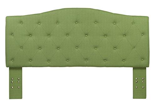 Furniture of America Satin Flax Fabric Button Tufted Headboard, Twin, Green - Green Twin Headboard