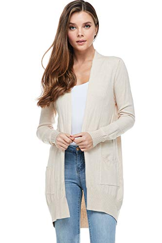 Alexander + David A+D Women's Basic Open Long Sleeved Soft Knit Cardigan Sweater Lightweight with Pockets (Oatmeal, Medium/Large)