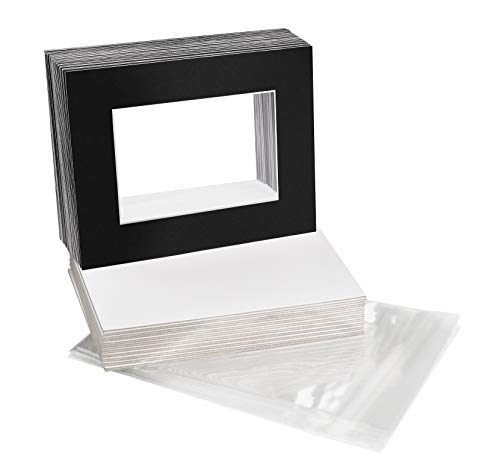 Golden State Art, Acid-Free Pre-Cut 8x10 Black Picture Mat Sets. Includes Pack of 25 White Core Bevel Cut Mats for 5x7 Photos, 25 Backing Boards and 25 Crystal Clear Plastic Sleeves Bags