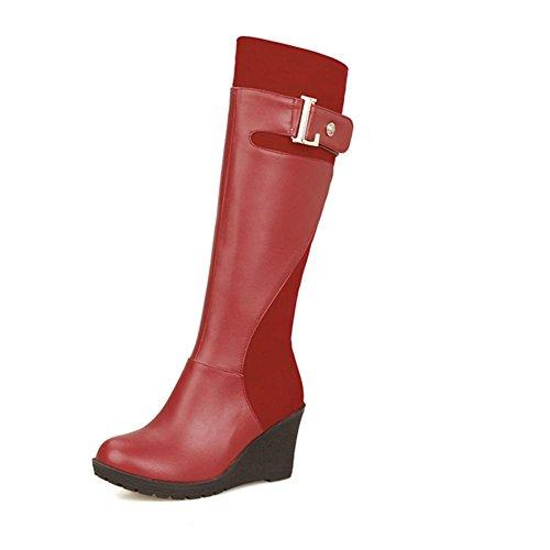 sudor de la botas desgaste de altas de cinturón XIAOGANG Seasons zapatos de marrón goma HFour al succión talón caliente H rojo hebilla Women 39 red resistencia de inclinación Negro 4O17Bwqn