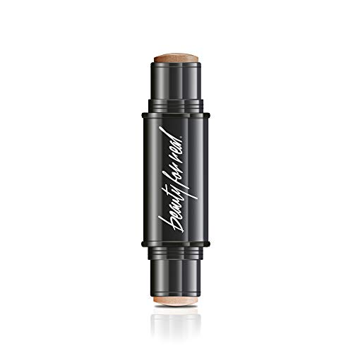Beauty For Real Bronze + Glo 2-in-1 Bronzer + Highlighter Stick, Cream to Powder Organic Anti Aging Mineral Formula Provides All Day Wear, 0.32 oz (Cocoa Cabana + Hi Tide)