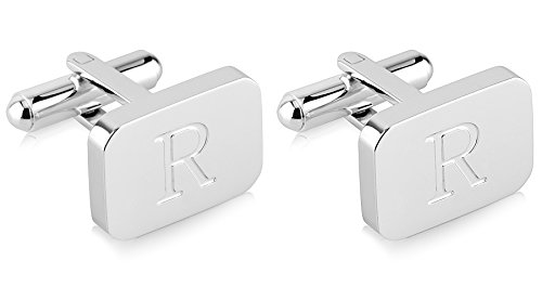 White-Gold Plated Monogram Initial Engraved Stainless Steel Man's Cufflinks With Gift Box -Personalized Alphabet Letter's By Lux & Pier (R- White Gold)