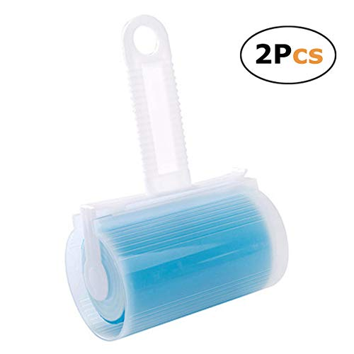 In kds Sticky Lint Roller Pet Hair Remover Easy to Remove Sheets Brush Reusable Washable 2 Pcs (Blue)]()
