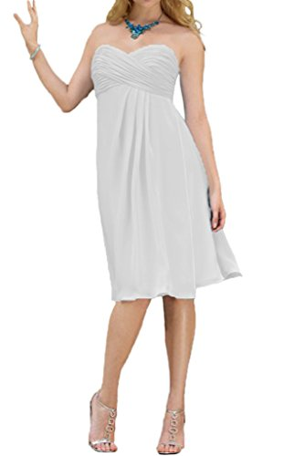 mia Braut Brautjungfernkleider Abendkleider Abschlussballkleider kurz Traegerlos La A Einfach Partykleider Weiß linie Cdqwd65R