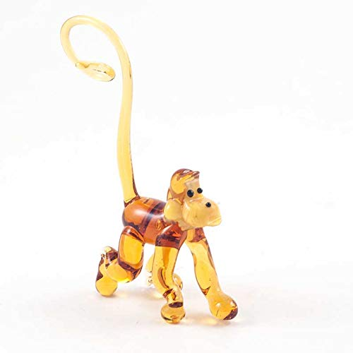 Small Glass Monkey Figurine Hand-Blown Art Collectible Figures -