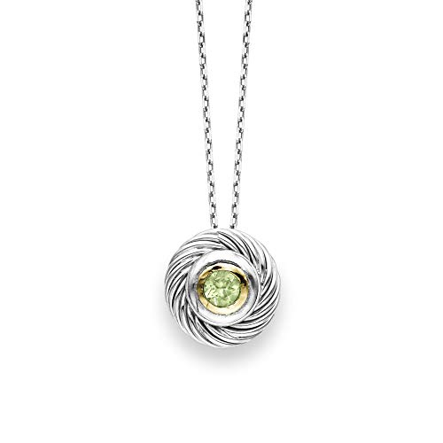 (Sterling Silver Rhodium Plated and 18k Yellow Gold Peridot Rope Solitaire Pendant Necklace, 18 inches)