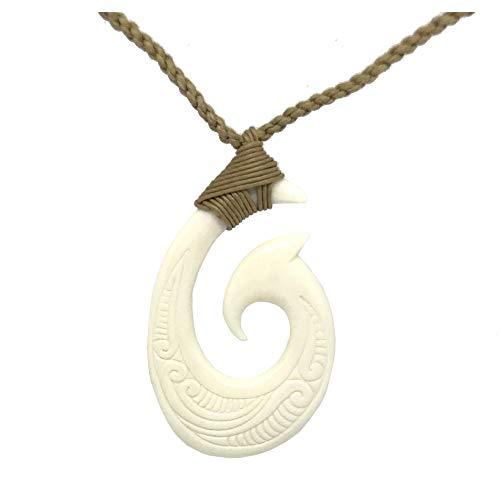 (Hawaiian Jewelry Hand Carved MAKAO Fish Hook White Buffalo Bone Hawaii Necklace )