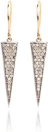 Long Solid Pave Diamond Triangle Earrings