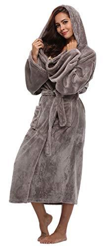 Women's Long Hooded Velvet Bathrobe Ultra-Soft Winter Fleece Grey Medium