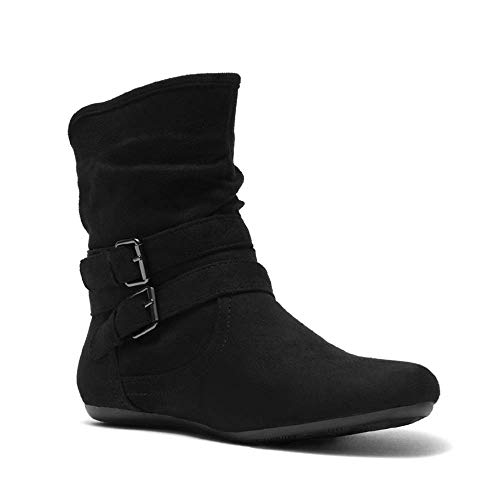Short Women Flat Boots - Herstyle Lindell Women's Fashion Flat Heel Calf Boots Side Zipper Slouch Ankle Booties Black 9.0